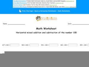 Horizontal Mixed Addition and Subtraction of the Number 100 Worksheet