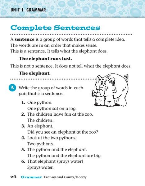 complete sentences worksheet for 4th 5th grade lesson planet. Black Bedroom Furniture Sets. Home Design Ideas