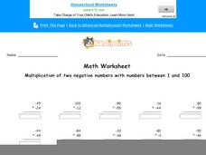 Multiplication of Two Negative Numbers with Numbers Between 1 and 100: Part 8 Worksheet
