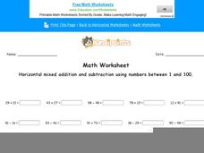 Horizontal Mixed Addition and Subtraction Using Numbers Between 1 and 100: Part 1 Worksheet