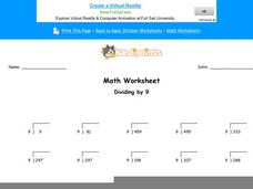 Dividing by 9: Part 2 Worksheet