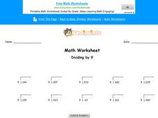 Dividing by 9: Part 3 Worksheet