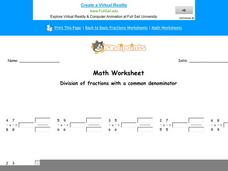 Division of Fractions With a Common Denominator: Part 4 Worksheet