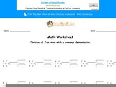 Division of Fractions With a Common Denominator: Part 6 Worksheet