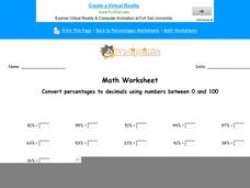 Convert Percentages to Decimals Using Numbers Between 0 and 100: Part 7 Worksheet