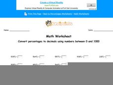 Convert Percentages to Decimals Using Numbers Between 0 and 1000: Part 7 Worksheet