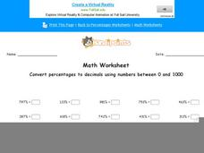 Convert Percentages to Decimals Using Numbers Between 0 and 1000: Part 10 Worksheet