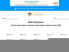 Convert Percentages to Decimals Using Numbers Between 0 to 1000 Worksheet