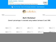 Convert Percentages to Decimals Using Numbers Between 0 and 1000: Part 8 Worksheet