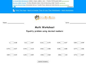 Comparing Decimals: Worksheet 2 Worksheet