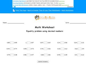 Comparing Decimal Numbers: Worksheet 4 Worksheet