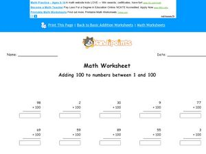 Adding 100 to Numbers Between 1 and 100: Worksheet 2 Worksheet