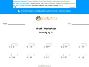 Dividing by 11: Worksheet 7 Worksheet
