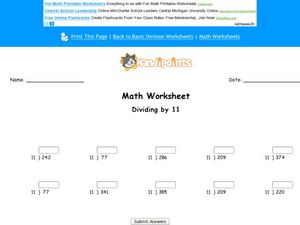 Divide by 11: Worksheet 8 Worksheet