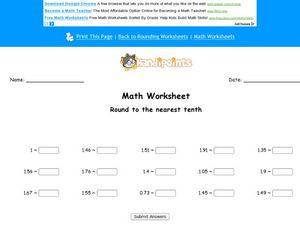 Round to the Nearest 10th: Worksheet 3 Worksheet