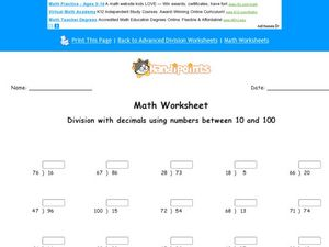 Division With Decimals, Numbers Between 10 and 100 Worksheet