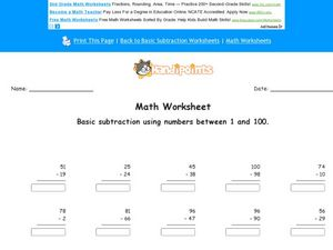 Basic Subtraction Using Numbers 1-100: Worksheet 2 Worksheet