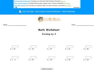Division by 3 Worksheet
