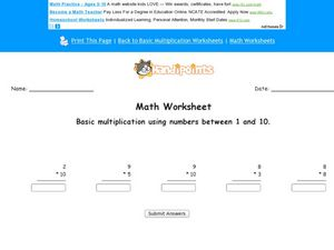 Basic Multiplication Using Numbers Between 1 and !0 Worksheet