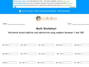 Horizontal     Mixed Addition and Subtraction Using Numbers Between 1 and 100 Worksheet