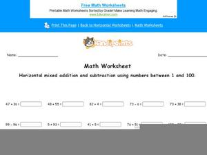 Horizontal Mixed Addition and Subtraction Using Numbers Between 1 and 100: Part 9 Worksheet