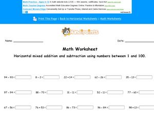 Horizontal Mixed Addition and Subtraction Worksheet