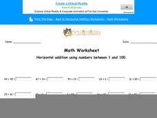 Horizontal Addition Using Numbers Between 1 and 100: Part 5 Worksheet