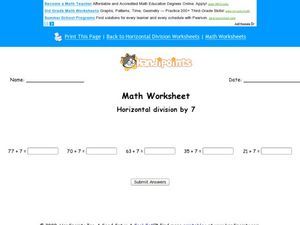 Math Worksheet:  Horizontal Division by 7, #2 Worksheet