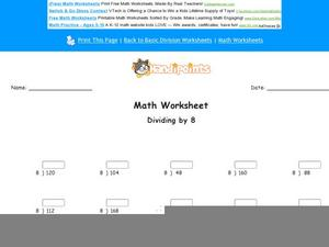 Dividing by 8: Part 3 Worksheet
