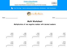 Multiply Negative Numbers With Decimals Worksheet