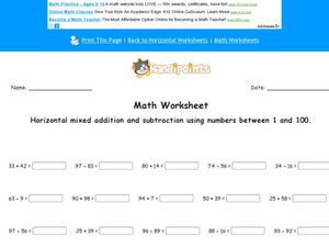 Math Worksheet: Horizontal Mixed Addition and Subtraction with 1 Negative Number #2 Worksheet