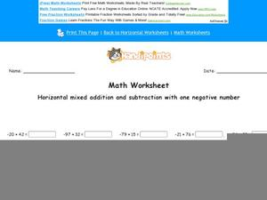 Horizontal Mixed Addition and Subtraction With One Negative Number: Part 1 Worksheet