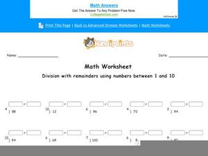 Division with Remainders Using Numbers Between 1 and 10: Part 7 Worksheet