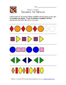 Complete the Patterns Worksheet
