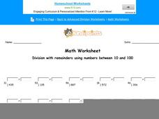 Division With Remainders Using Numbers Between 10 and 100: Part 1 Worksheet