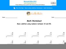 Basic Addition Using Numbers Between 10 and 50: Part 1 Worksheet
