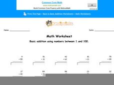 Basic Addition Using Numbers Between 1 and 100: Part 8 Worksheet