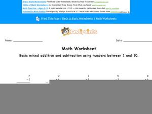 Mixed Addition and Subtraction Using Numbers Between 1 and 10: Part 8 Worksheet