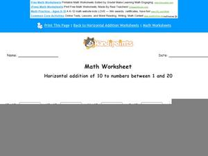 Horizontal Addition of 10 to Numbers Between 1 and 20: Part 7 Worksheet