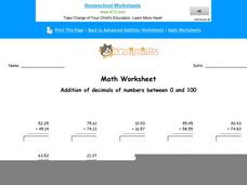 Addition of Decimals of Numbers Between 0 and 100: part 1 Worksheet