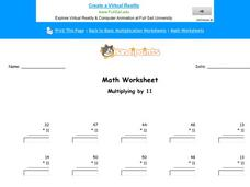 Multiplying by 11: Part 6 Worksheet