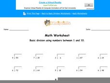 Basic Division Using Numbers Between 1 and 10: Part 5 Worksheet