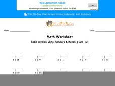 Basic Division Using Numbers Between 1 and 10: Part 6 Worksheet