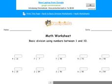 Basic Division Using Numbers Between 1 and 10: Part 7 Worksheet