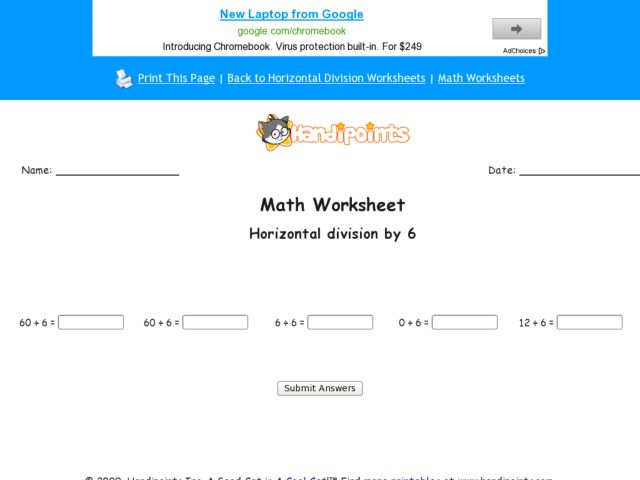 Horizontal Division by 6: Part 4 Worksheet