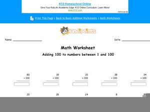 Adding 100 to Numbers Between 1 and 100: Part 6 Worksheet