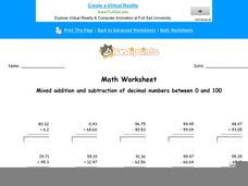Mixed Addition and Subtraction of Decimal Numbers Between 0 and 100: part 6 Worksheet