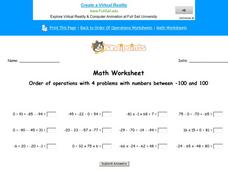 Order of Operations with 4 Problems with Numbers Between -100 and 100: Part 1 Worksheet