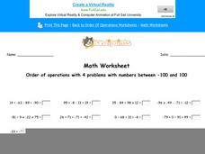 Order of Operations with 4 Problems with Numbers Between -100 and 100: Part 3 Worksheet