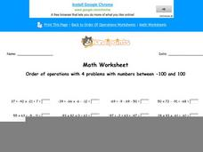 Order of Operations with 4 Problems with Numbers Between -100 and 100: Part 2 Worksheet